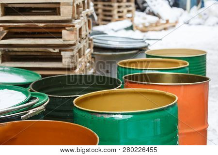 Old Empty Colored Tin Barrels From Gasoline, Oil/ Vintage Cask, Rusted Tins, Cans With Chemicals, In