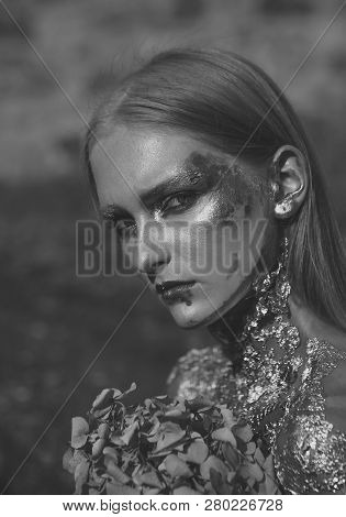 Halloween Woman With Flowers, Beauty. Girl With Wounds, Skin Problem, Makeup, Bodyart. Halloween Par