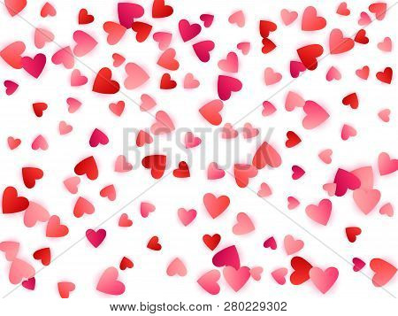 Ruby Red Flying Hearts Bright Love Passion Vector Background. Amour Backdrop. Cartoon Confetti Love