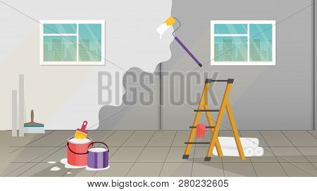 Interior With Painting And Wall Upkeep Tools Such As Paint Roller, Paint Buckets And Brush, Platform
