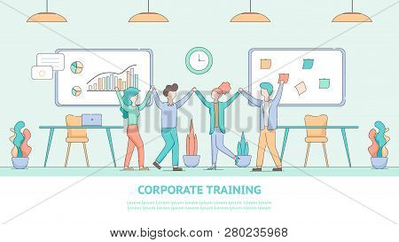 Banner Corporate Training For Employee Development. Illustration Group People Listened Educational S