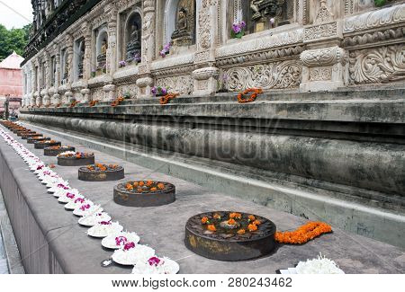 Surroundings Of Mahabodhi Temple In Bodhgaya, India. Bodhgaya Is The Place Where Buddha Got Enlighte