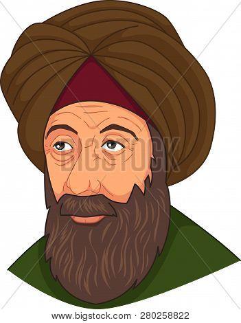 A Vector Illustration Of Ibn Al-haitam Arabian Optician