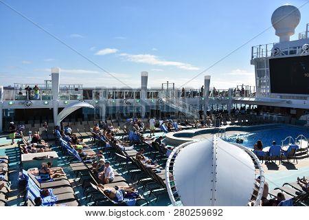 Long Beach, California - Oct 23: Pool Deck On The Norwegian Bliss Cruise Ship, Cruising Along The Co