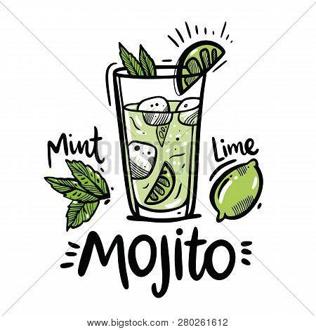 Cocktail Mojito Hand Drawn Vector Illustration. Sketch Illustration For Cocktail Cards. Mojito Class