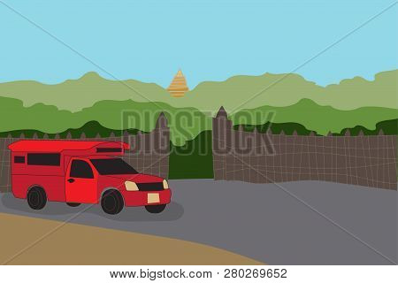 Red  Pick Up Truck Taxi Chiang Mai With Nature And Gate Background Vector