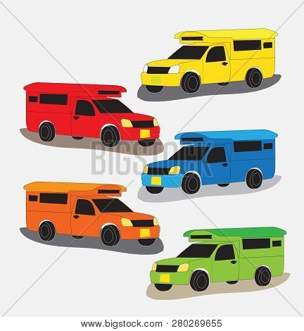 Set Of  Pick Up Truck Taxi Chiang Mai Vector On White Background