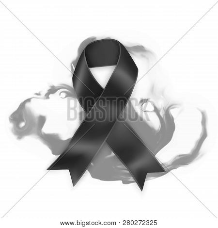 Black awareness ribbon on white background. Mourning and melanoma symbol, Realistic Vector illustration poster