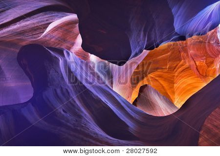 Shone orange and violet colors a canyon of
