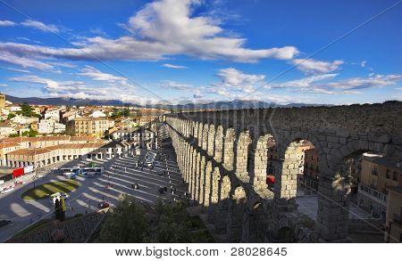 Modern Segovia and ancient Roman aqueduct