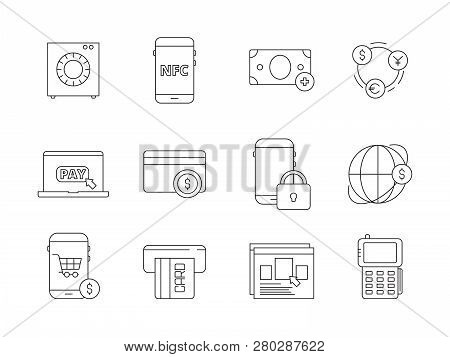 Online Banking Icon. Internet Payment Services Automation Mobile Bank Phone Shopping Payments Vector