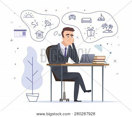 Businessman Dreaming. Successful Office Manager Sitting And Thinking About House Car And Trophies Ve