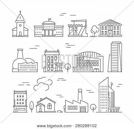 Town Buildings Icon. Urban Architecture Village Houses Factory Living Rooms Exterior Walls Vector Li