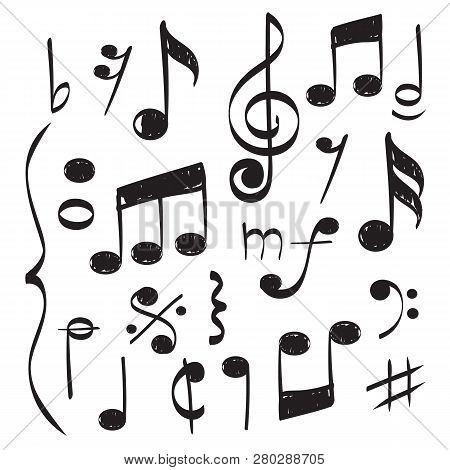 Notes Music. Vector Hand Drawn Muzician Staff Treble Clef For Song Vector Concept Pictures. Illustra