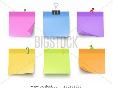 Notes Colored. Sticky Papers With Pin Clips Memo Bank Business Notes Vector Realistic Template. Offi