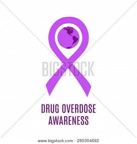 Drug Overdose Awareness Day Purple Ribbon Vector Illustration