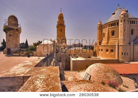 Churches and mosques in old quarters of Jerusalem