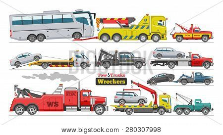 Tow Truck Vector Towing Car Trucking Vehicle Bus Transportation Towage Help On Road Illustration Set
