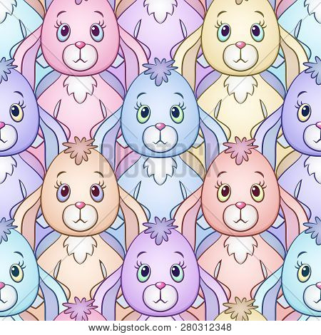 Seamless Background With Colorful Cartoon Rabbits, Bunnies, Tile Pattern With Cute Characters. Vecto