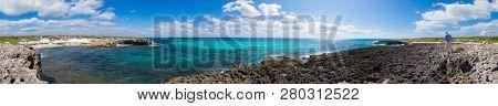 360 panorama of the rocky shore at El Mirador on Cozumel, Mexico.