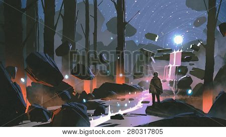 Man Looking At The Glowing Light Ball Floating Above Waterfall In Enchanted Forest, Digital Art Styl