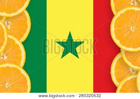 Senegal flag  in citrus fruit slices vertical frame poster