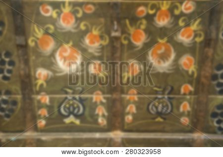 Handmade And Vintage. Wooden Painting With Blurring Filter. Blurred Wooden Background. Blur Wooden S
