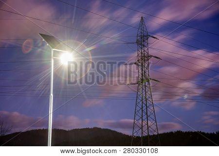 Solar Lights In Urban Environment. Renewable Energy, Electricity, Smart Grid.