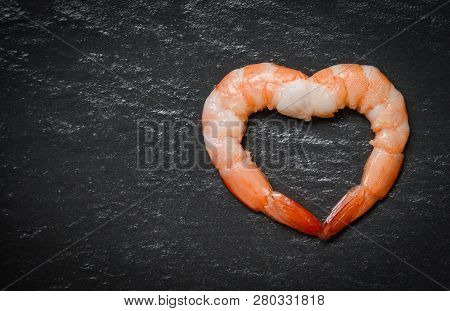 Seafood Two Shrimps Heart Shape / Cooked Shrimp Prawns On Dark Background - Valentines Dinner Romant