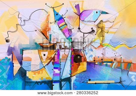 Abstract Colorful Fantasy Oil Painting. Semi Abstract Of Tree, Flower And Fish In Landscape. Spring
