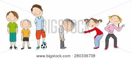 Three Boys With Ball Ready To Play Football / Soccer, Two Girls Bullying Sad Boy, Sneering, Offendin