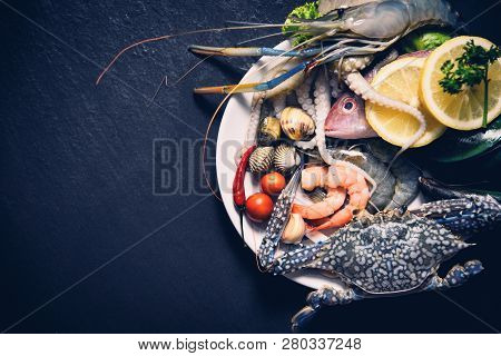 Shellfish Seafood Plate With Shrimps Prawns Crab Shell Cockles Mussel Squid And Fish Ocean Gourmet D