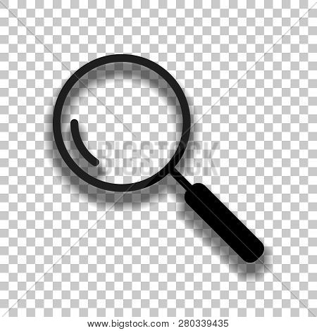 Loupe, Search Or Magnifying. Linear Icon, Thin Outline. Black Glass Icon With Soft Shadow On Transpa