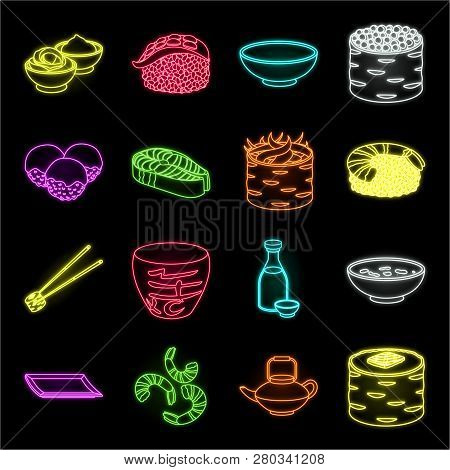 Sushi And Seasoning Neon Icons In Set Collection For Design. Seafood Food, Accessory Vector Symbol S
