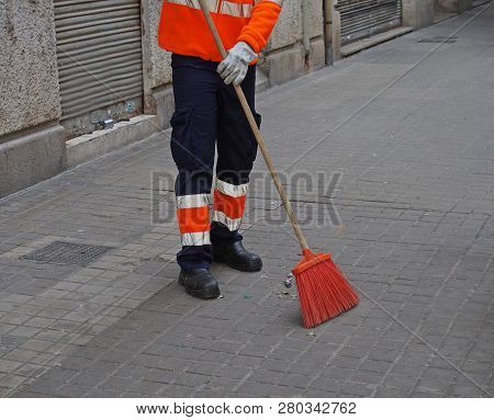 City Workers - Cleaning And Washing Of City Streets.
