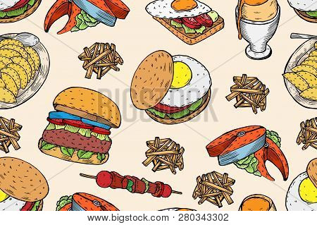 Colored Gourmet Burgers And Ingredients For Burgers Vector Illustration. Fast Food, Junk Food Frame.