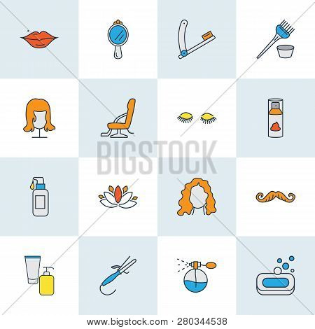 Hairdresser Icons Colored Line Set With Soap, Lotus Flower, Shaving Cream And Other Coiffure Element