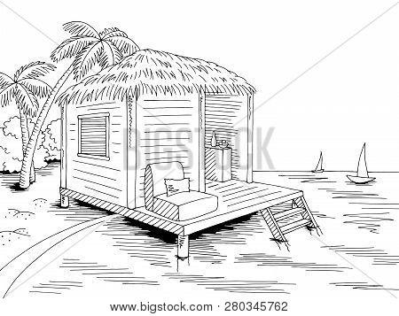 Bungalow Hut House Coast Beach Graphic Black White Sea Landscape Sketch Illustration Vector