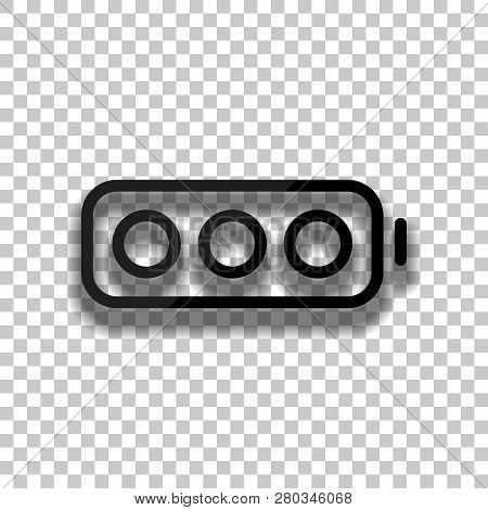 Simple Empty Battery, None Level. Black Glass Icon With Soft Shadow On Transparent Background