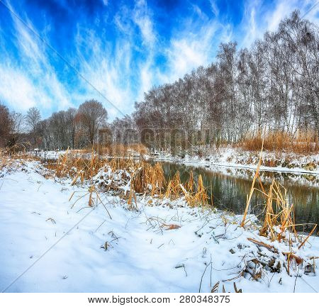 Scenic view of the river and trees covered by snow. poster