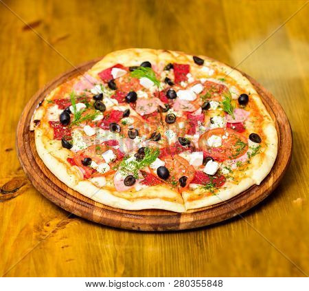 Take Away Food Concept. Pizzeria Restaurant. Italian Pizza Concept. Delicious Hot Pizza On Wooden Bo