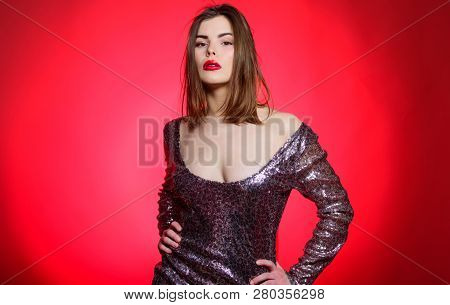 Love And Romance. Sexy Lips Of Sexy Woman. Sexy Woman In Glamour Dress. Sensual Girl With Red Lips A