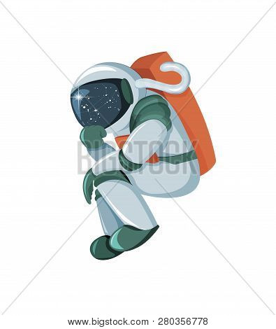 Cartoon Astronaut Thinking Or Searching Solution Isolated On White Background
