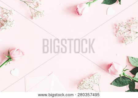 Valentine's Day Composition. Pink Rose Flowers, Envelope On Pastel Pink Background. Valentines Day,