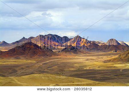 Magnificent landscape. Desert Sinai in the beginning of winter