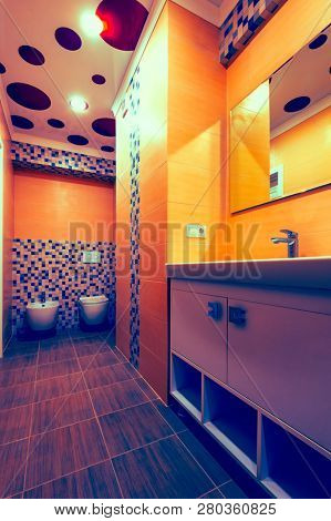 Modern bathroom interior, toilet and bidet together, re-colored version