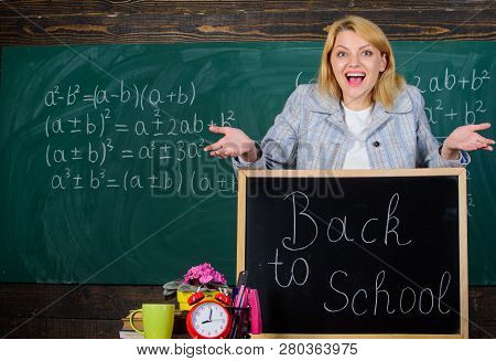 Back To School. Teachers Day. Study And Education. Modern School. Knowledge Day. Woman In Classroom.
