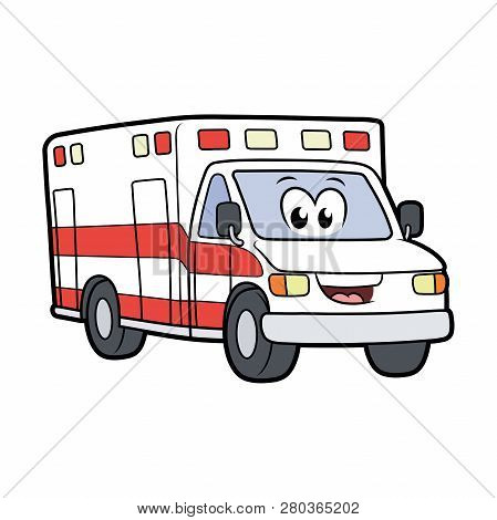 Illustration Of A Cute Smiling Ambulance Car Isolated On A White Background