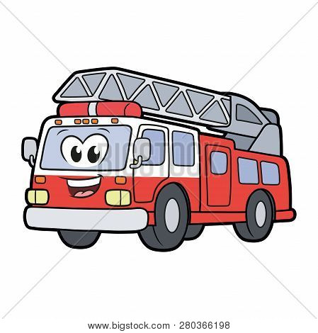 Illustration Of A Cute Smiling Fire Truck Isolated On A White Background