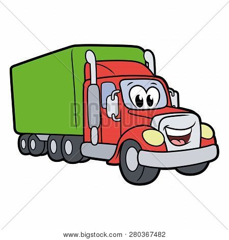Illustration Of A Cute Smiling Truck Isolated On A White Background
